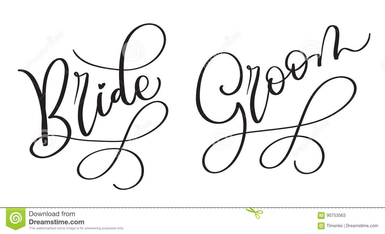 Bride Groom Hand Drawn Vintage Vector Text On White