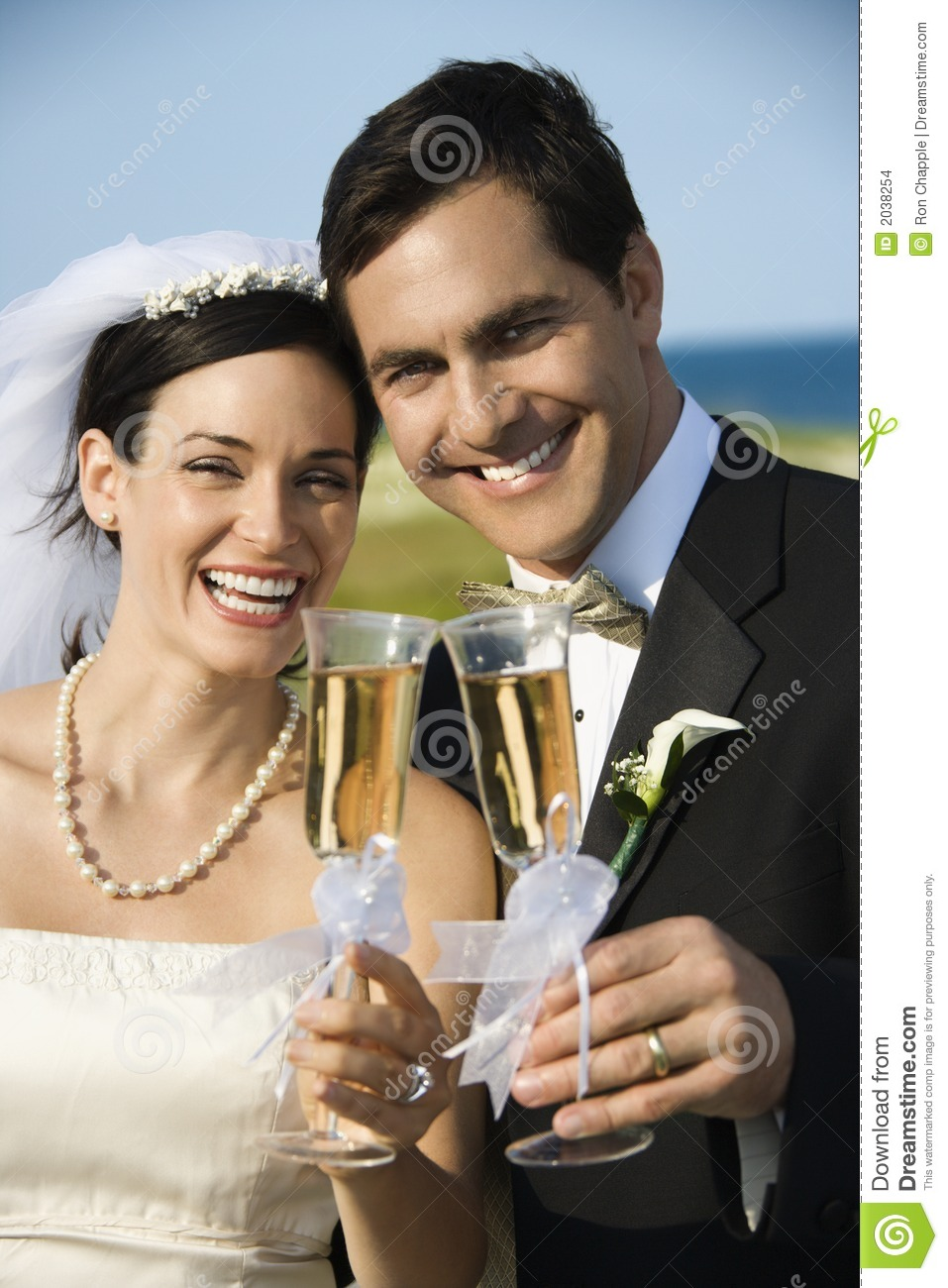 Bride And Groom Holding Champagne Stock Images  Image