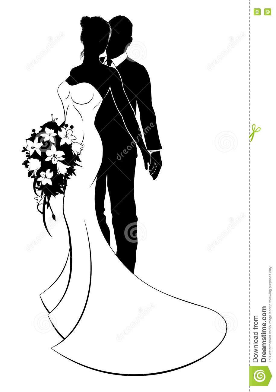 Bride And Groom Husband And Wife Wedding Silhouette Stock