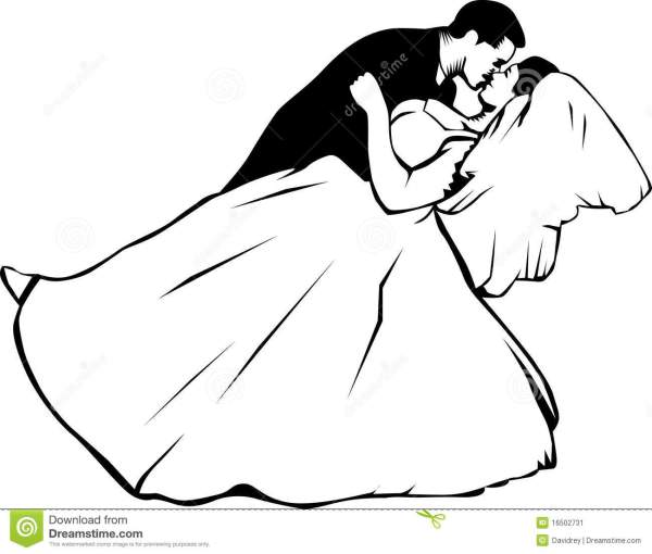 bride and groom kissing stock vector