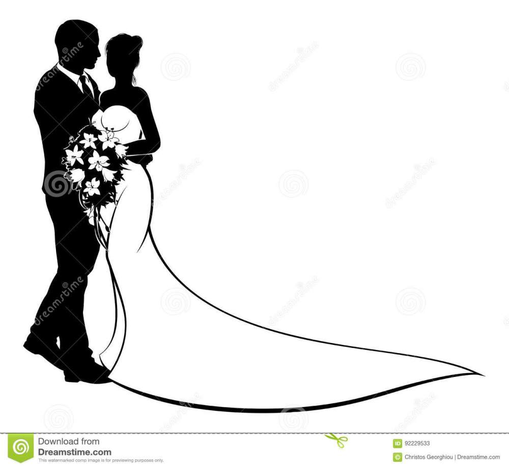 medium resolution of a bride and groom wedding couple in silhouette with in a bridal dress gown holding a floral bouquet of flowers