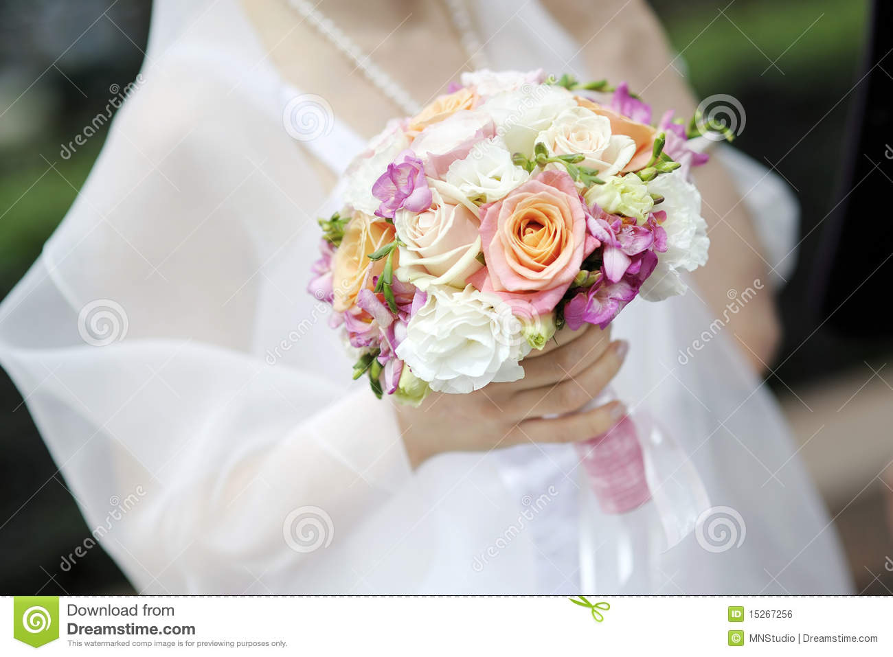 Bride Holding Beautiful Wedding Flowers Bouquet Royalty