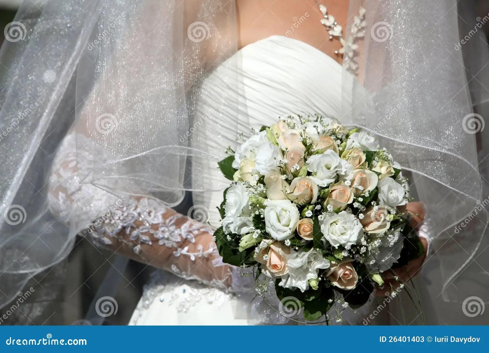 Bride Holding Beautiful Wedding Flowers Bouquet Stock
