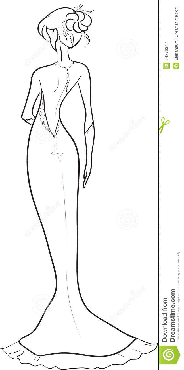 Bride with an open back stock vector. Illustration of back