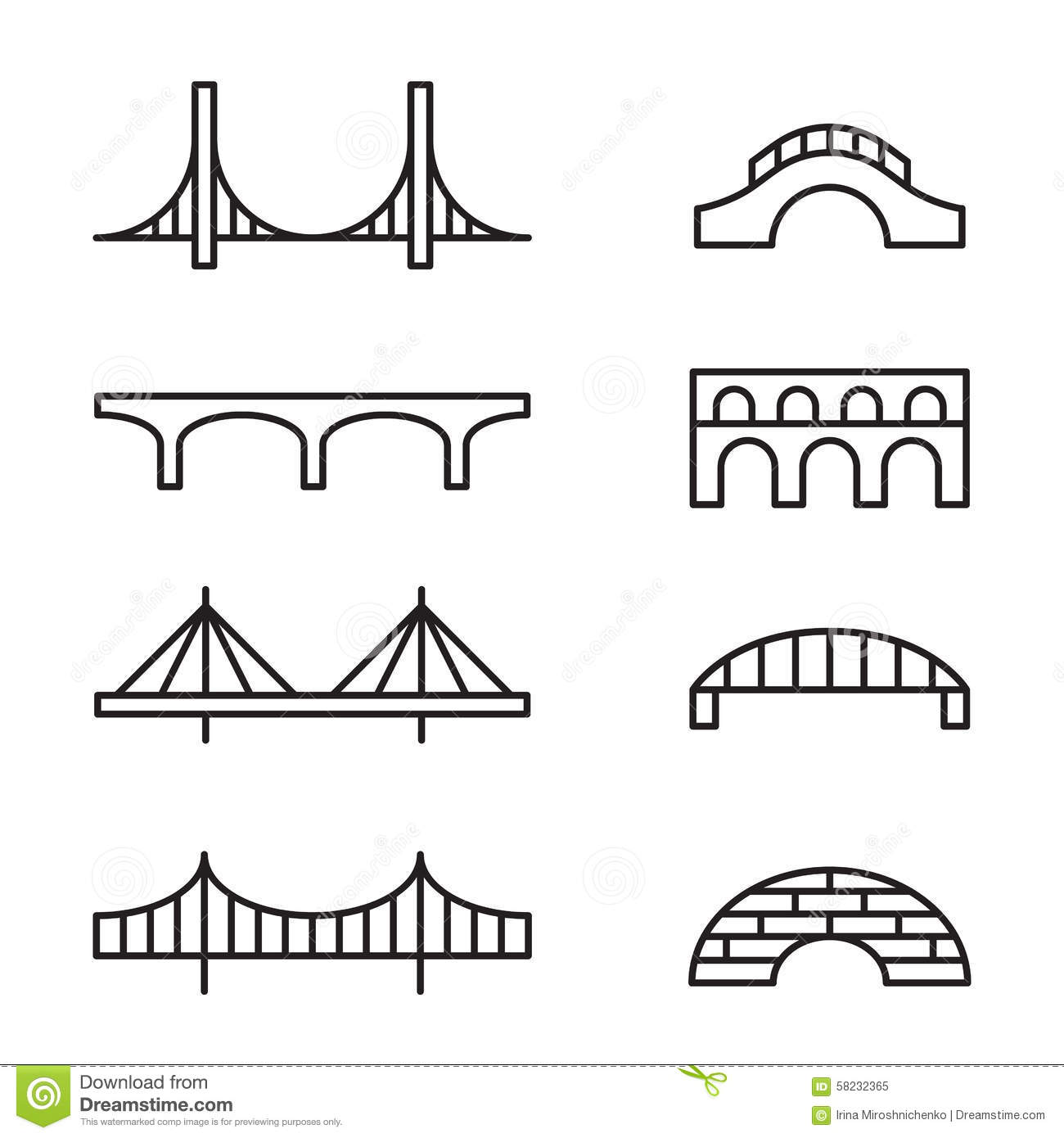 Bridge Icons Stock Vector Image Of Simple Design Cable