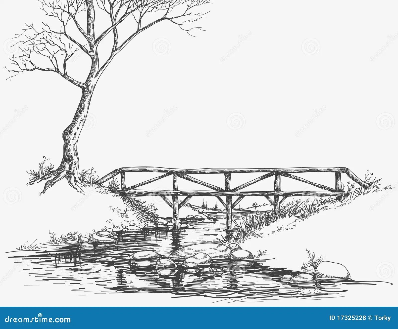 Bridge Over River Stock Vector Illustration Of Path