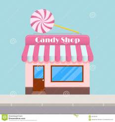 cartoon candy toldo snoep vector canopy negozio heldere met vlakke stijl luifel een flat fumetto baldacchino dolci luminoso stile piano
