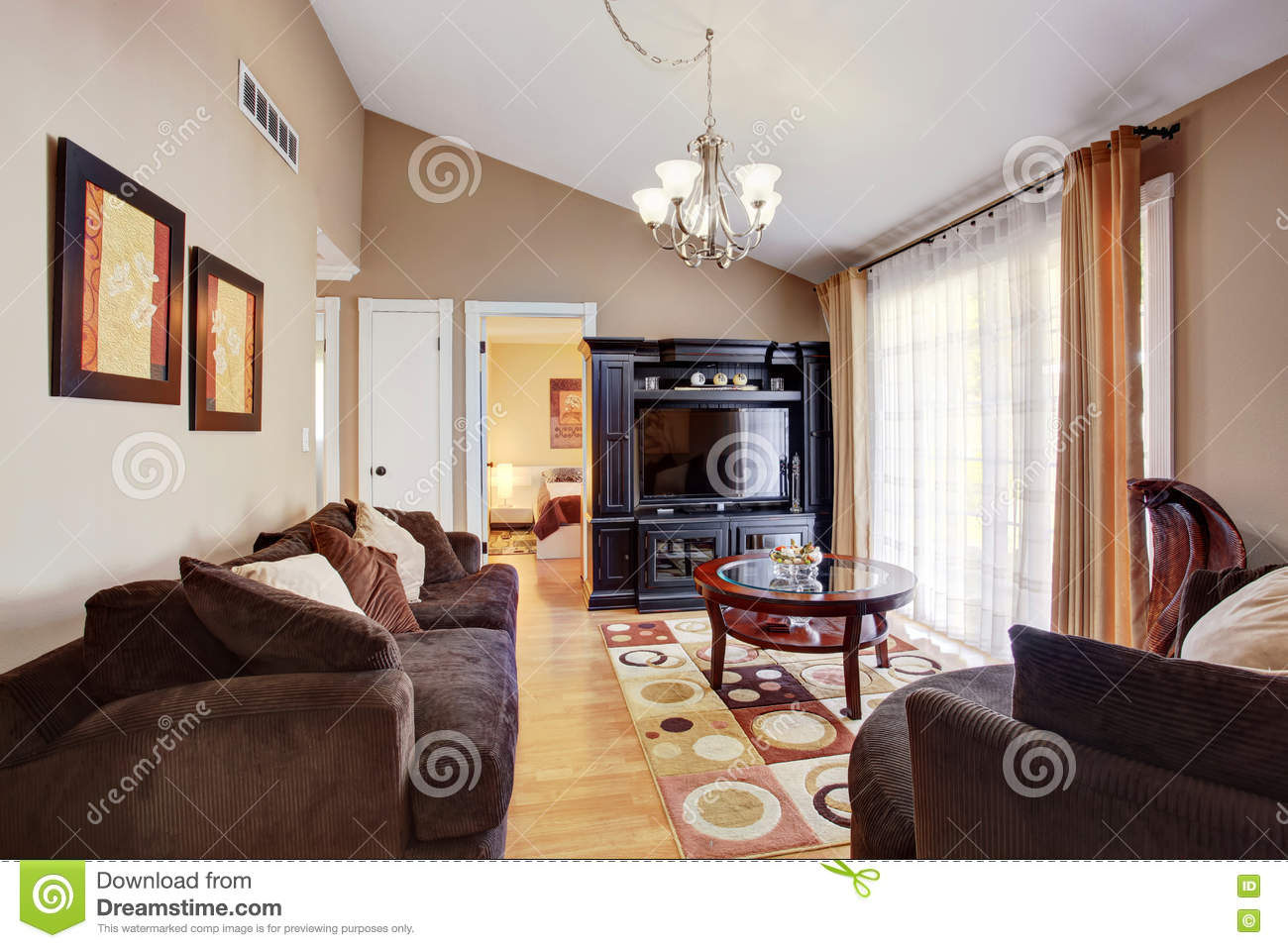 bright colored living room rugs rooms furniture arrangements with brown sofa and colorful rug stock image