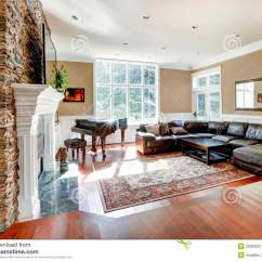 Modern Wood Chair Plans Wingback Dining Bright Luxury Living Room With Stone Fireplace And Cherry Hardwood. Stock Image - Image: 28393637