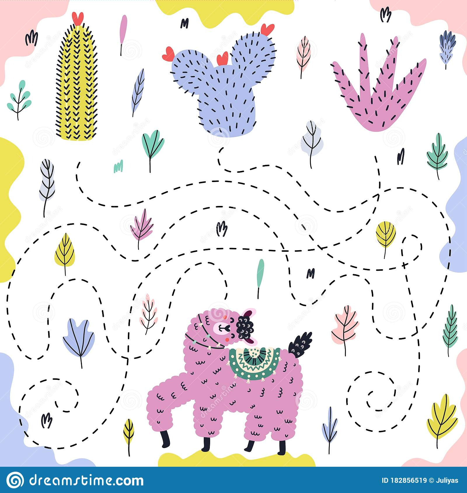 Bright Maze Game For Kids With A Funny Llama Stock Vector