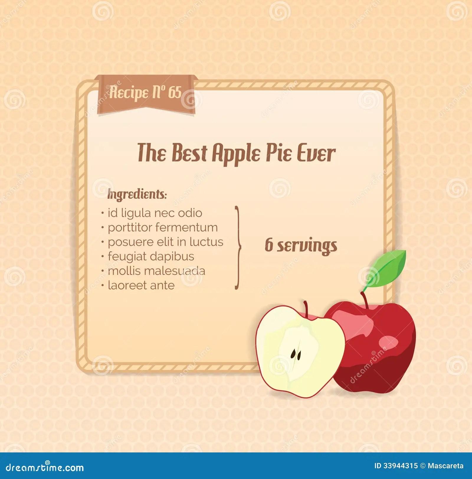 Bright Recipe Card With Cute Cartoon Apple Royalty Free