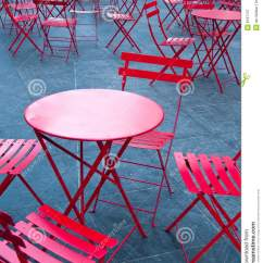 Round Table 8 Chairs Black Arm Chair Bright Red Cafe Tables And Stock Image - Of Round, Outside: 8187137