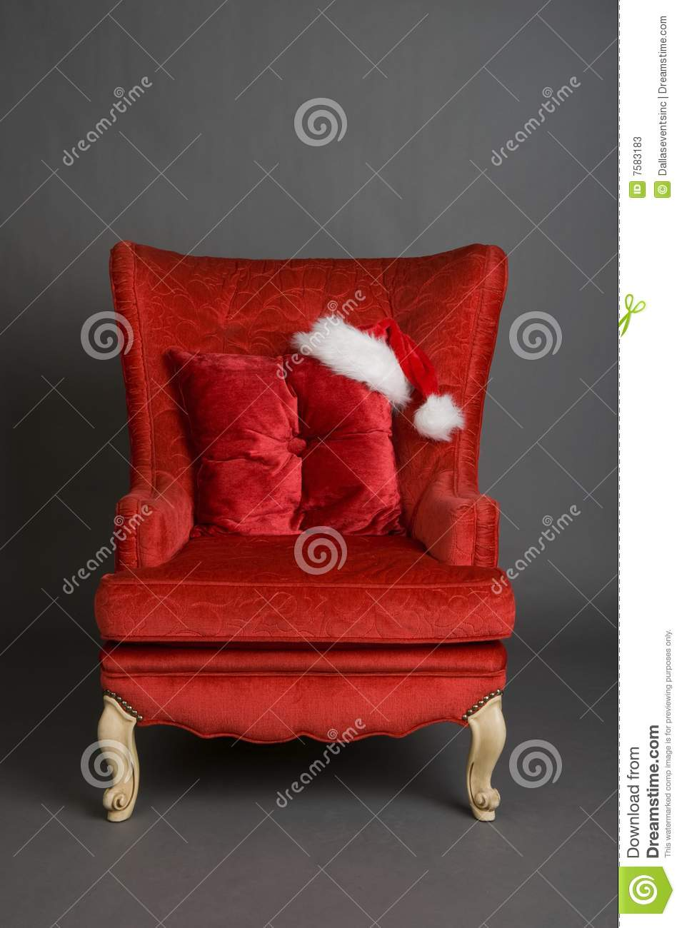 Bright Red Chair With Santa Hat Stock Photos  Image 7583183