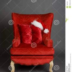 Sitting Chair Coleman With Table Bright Red Santa Hat Stock Photos - Image: 7583183