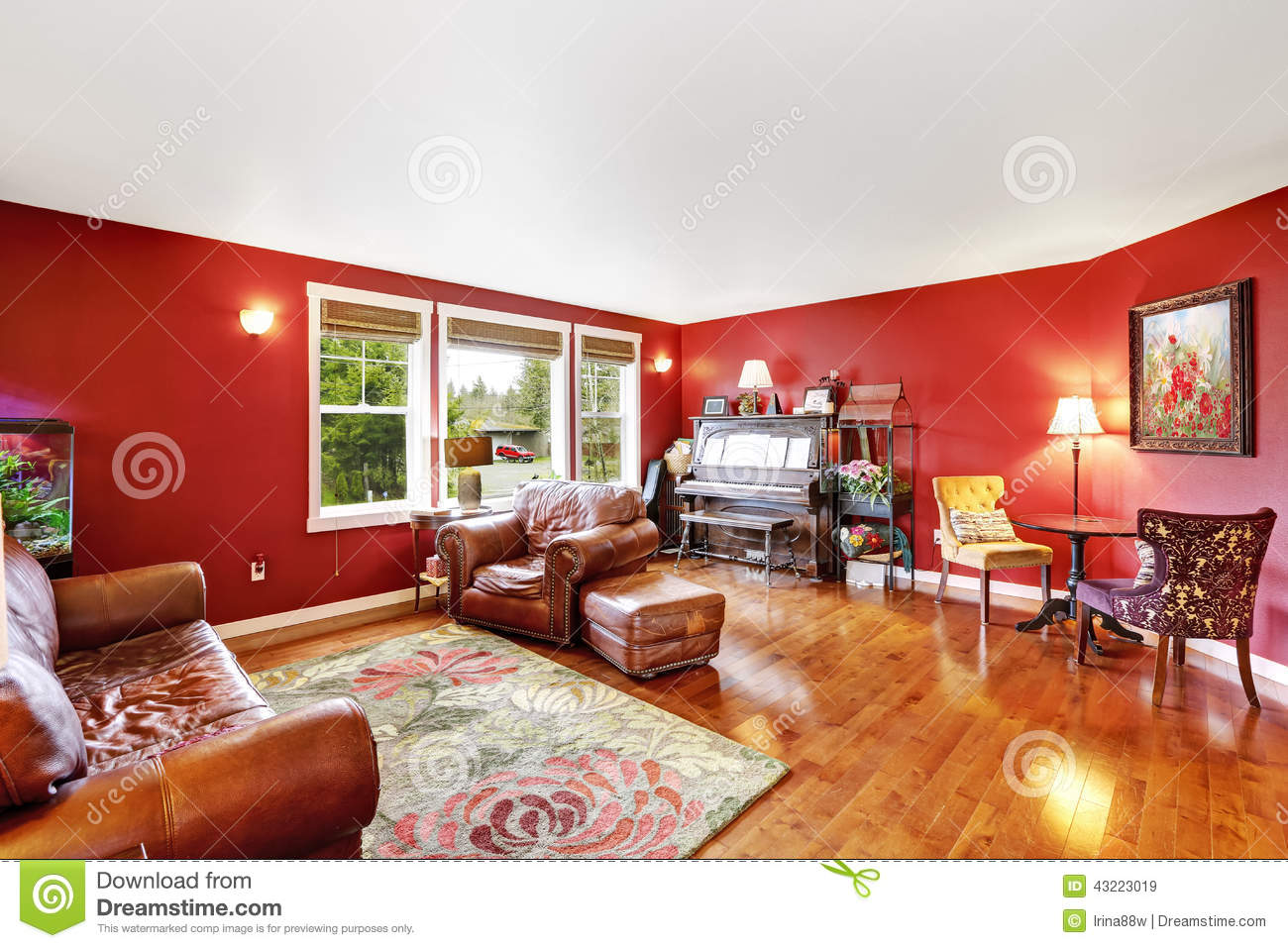 Bright Red Living Room Interior Stock Photo Image 43223019