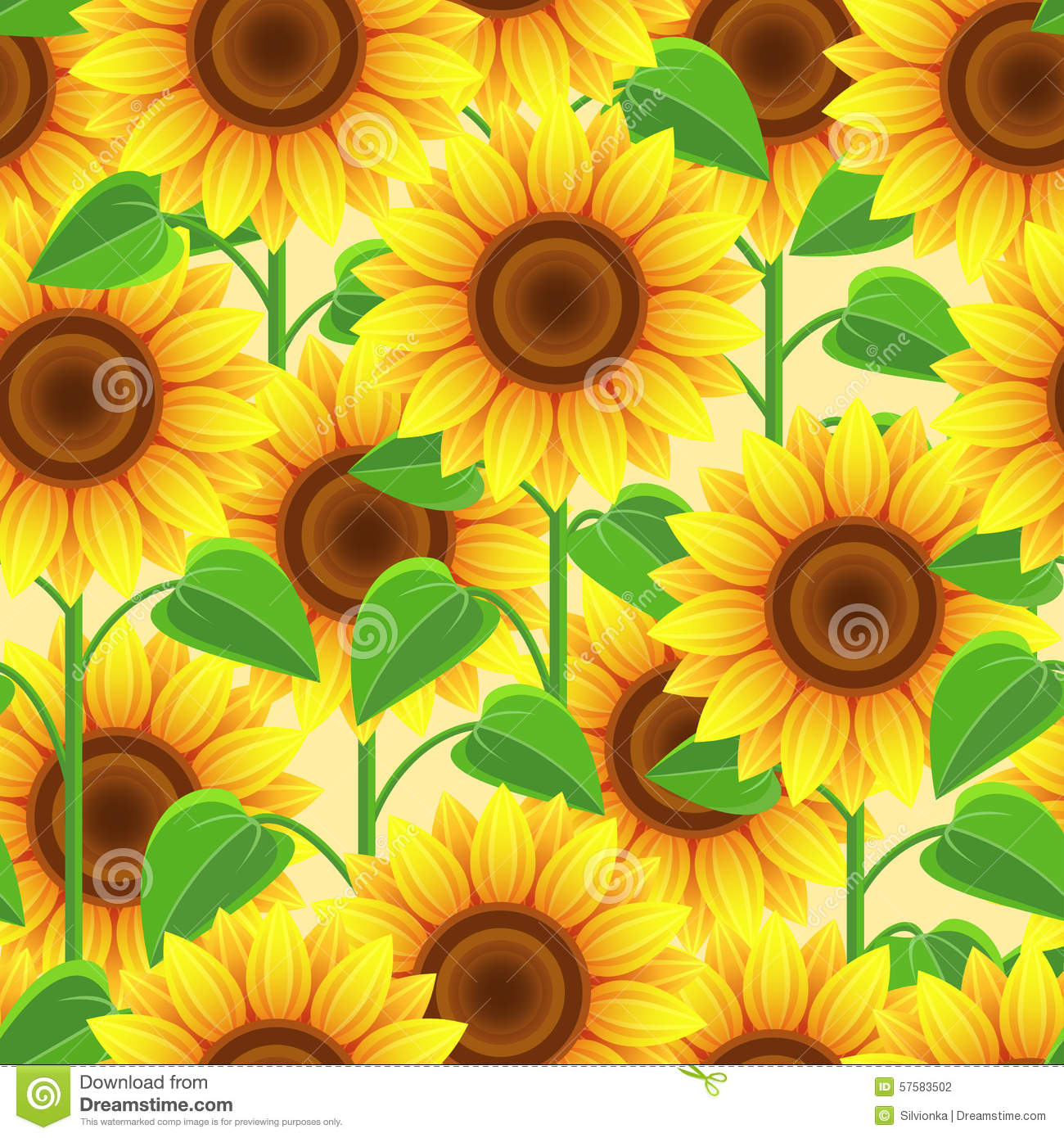 Stylish Wallpaper Girl Bright Seamless Pattern With Flowers Sunflowers Stock