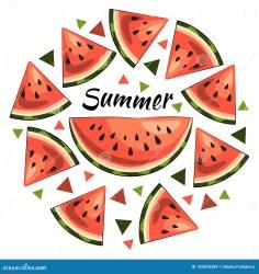 Bright Summer Illustration: Juicy Watermelon Slices Summer Inscription Triangles Stock Illustration Illustration of element clipart: 150876589