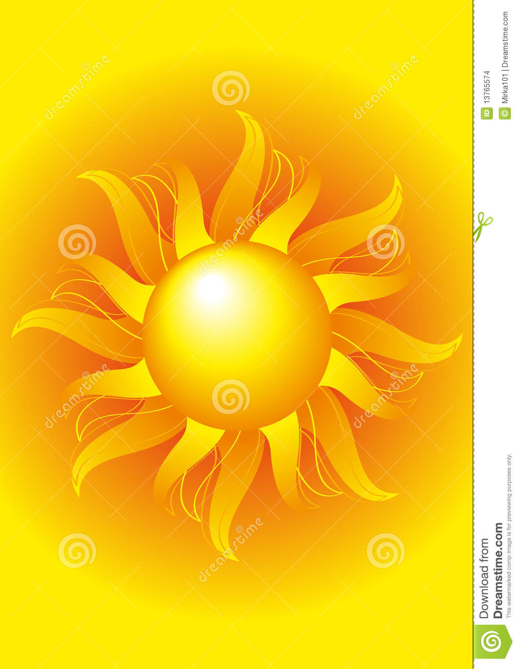 Bright Sun On A Yellow Background Stock Vector