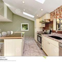 Kitchen Skylights On A Budget Bright Sunny With Vaulted Ceiling And Stock Photo