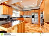 Bright Wood Kitchen With Coffered Ceiling Stock Image ...