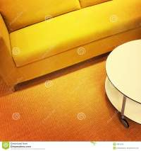 Bright Yellow Sofa And Coffee Table Stock Photo - Image ...
