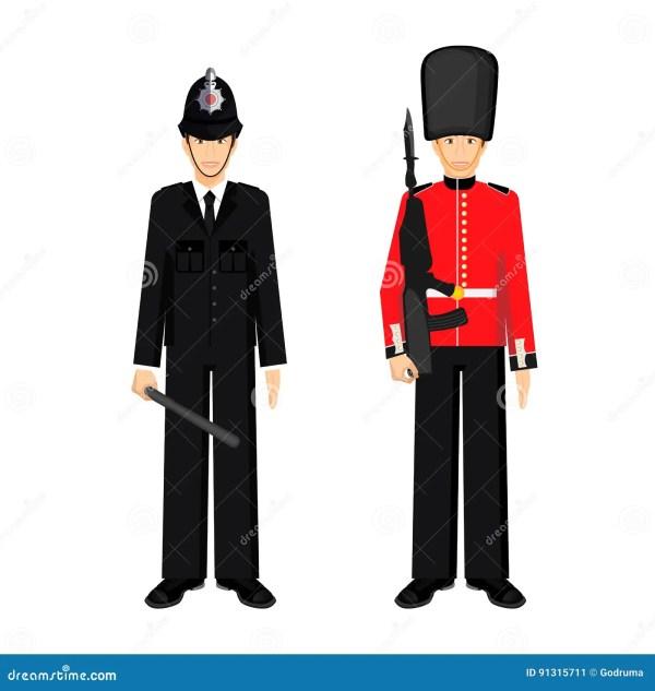 British Policeman Uniform Vector Illustration