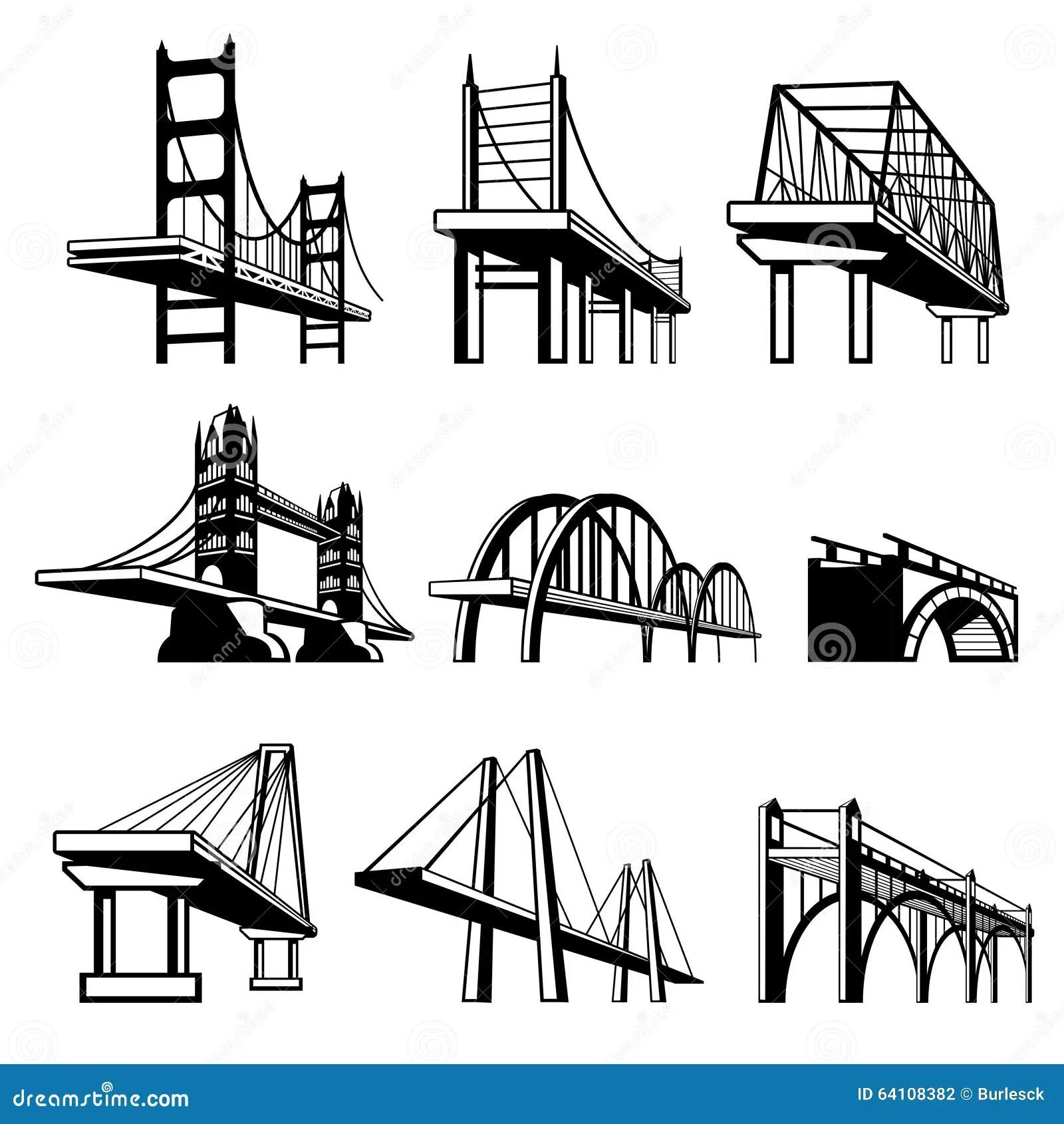 Broar I Uppsattning For Perspektivvektorsymboler Vektor Illustrationer