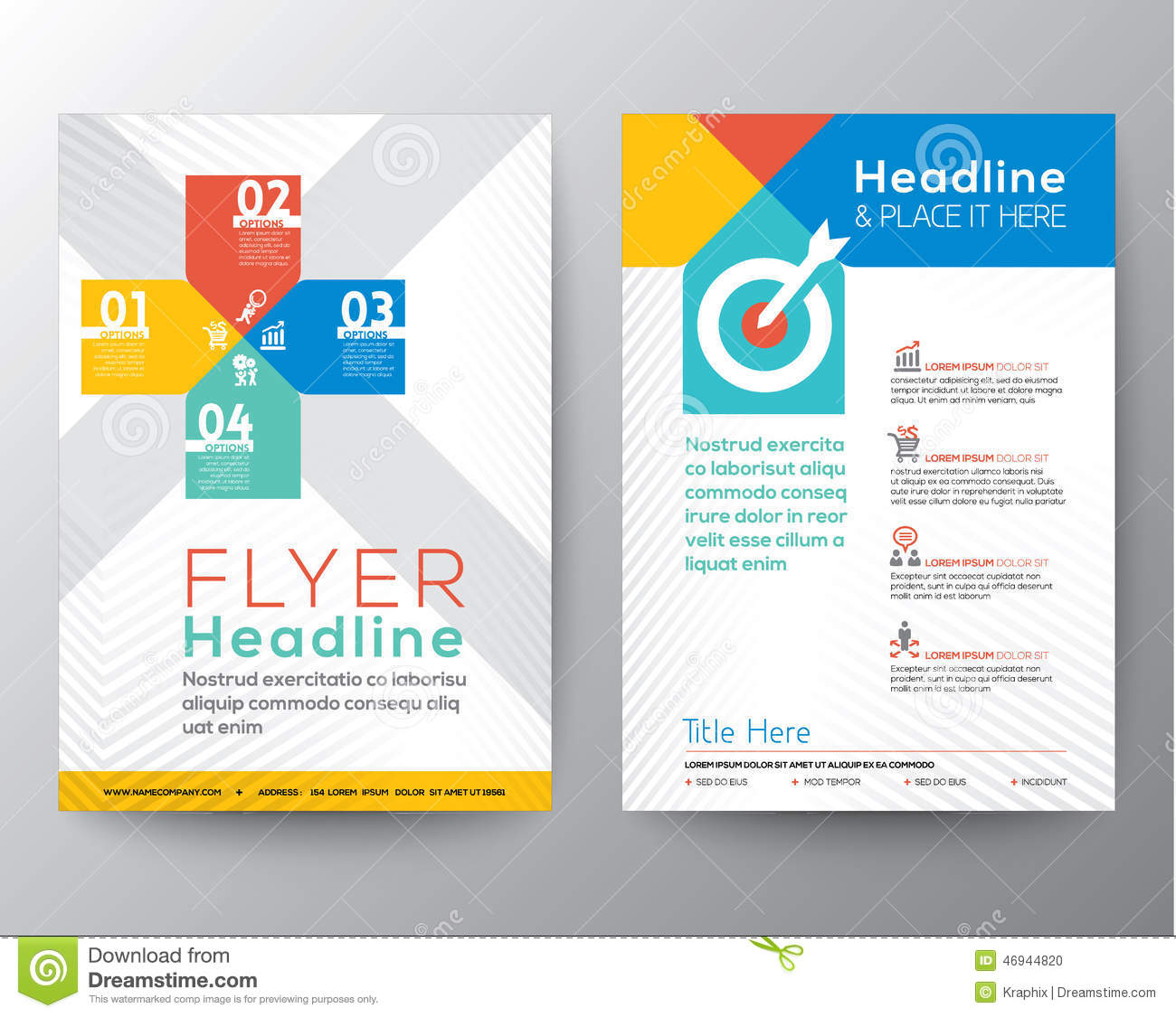 Brochure Flyer Graphic Design Layout Vector Template Stock