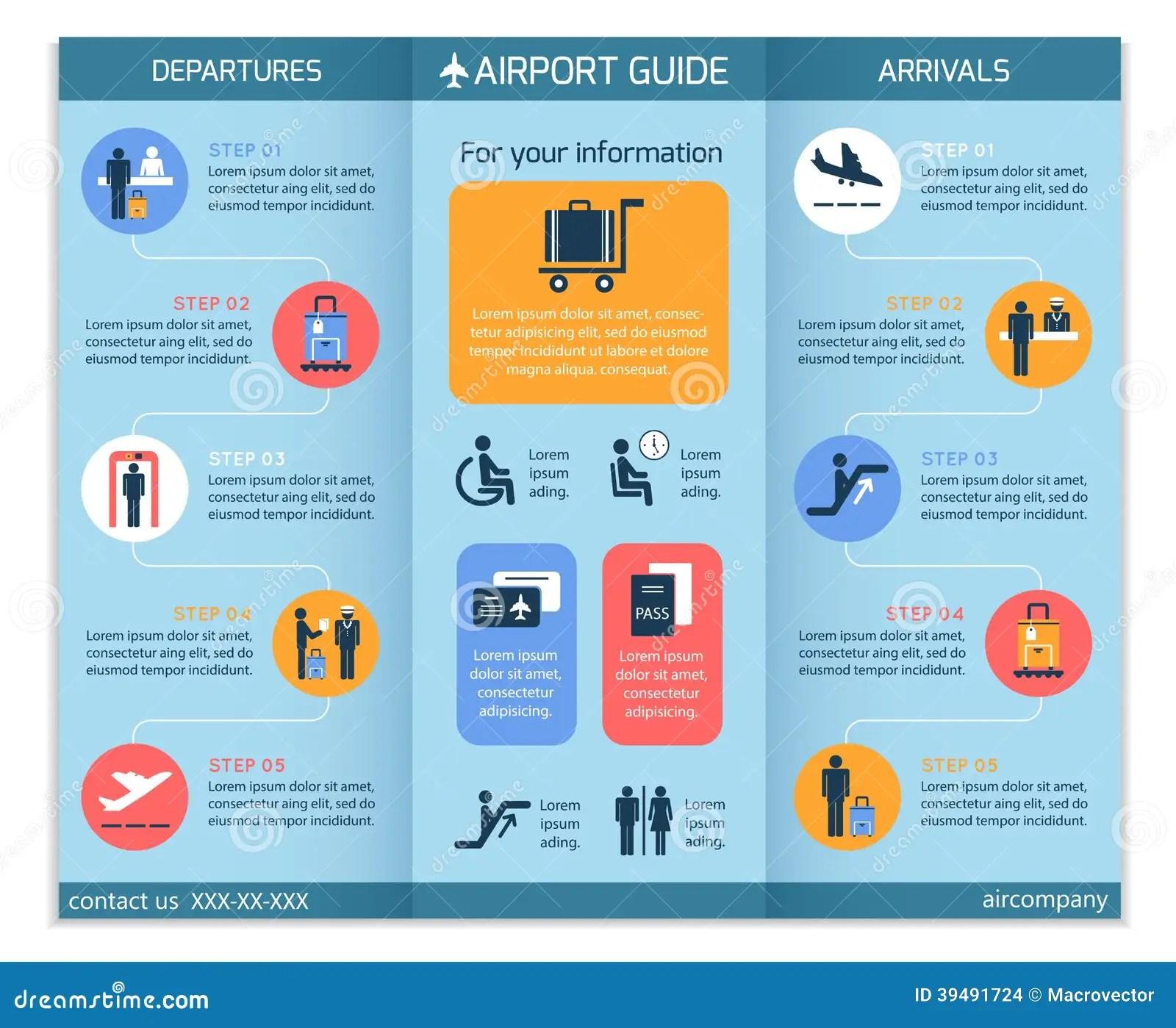 Brochure Luchthaven De Bedrijfs Van Infographic Vector