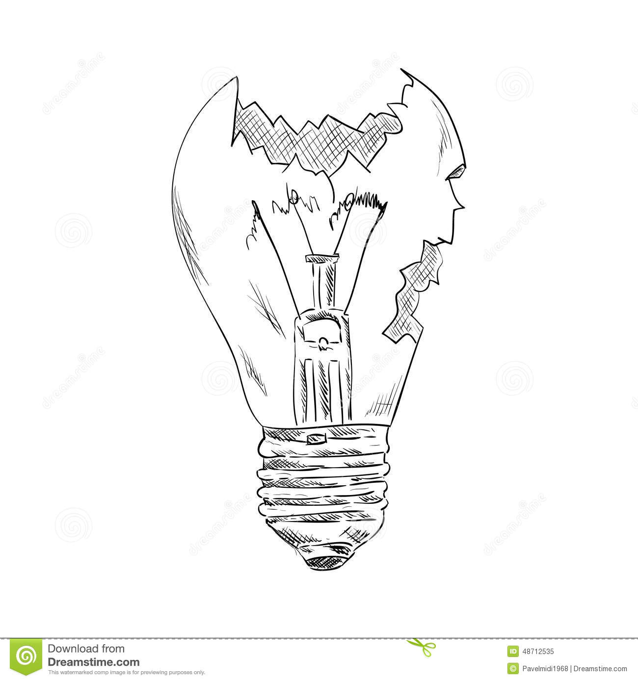Broken Bulb Stock Vector Illustration Of Electric Isolated