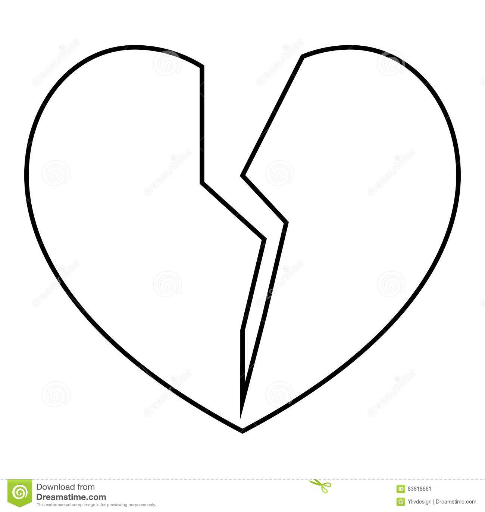 Broken Heart Line Icon Cartoon Vector