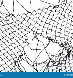 broken iron wire fence [ 1300 x 955 Pixel ]
