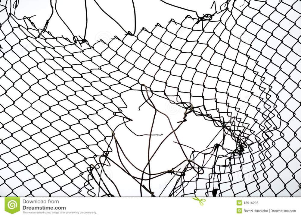 medium resolution of broken iron wire fence