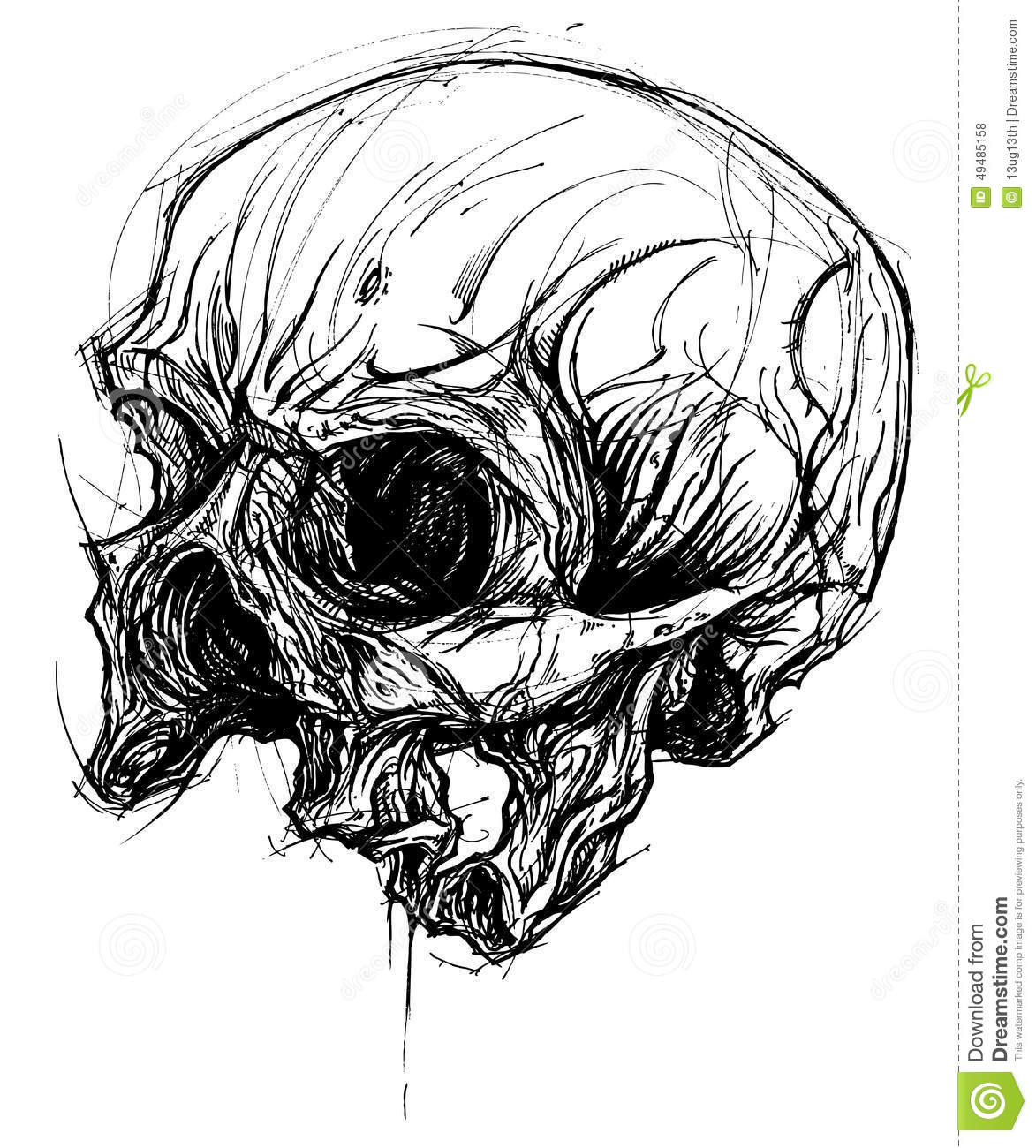 Broken Skull Drawing Line Work Vector Stock Vector