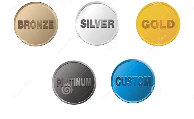 Bronze Silver Gold Platinum Custom Coins Stock