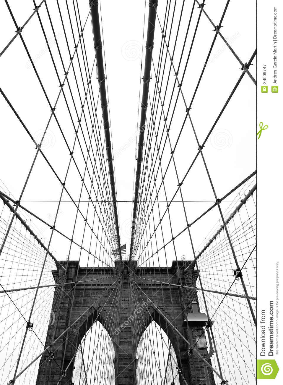 Brooklyn Bridge, Black And White Royalty Free Stock