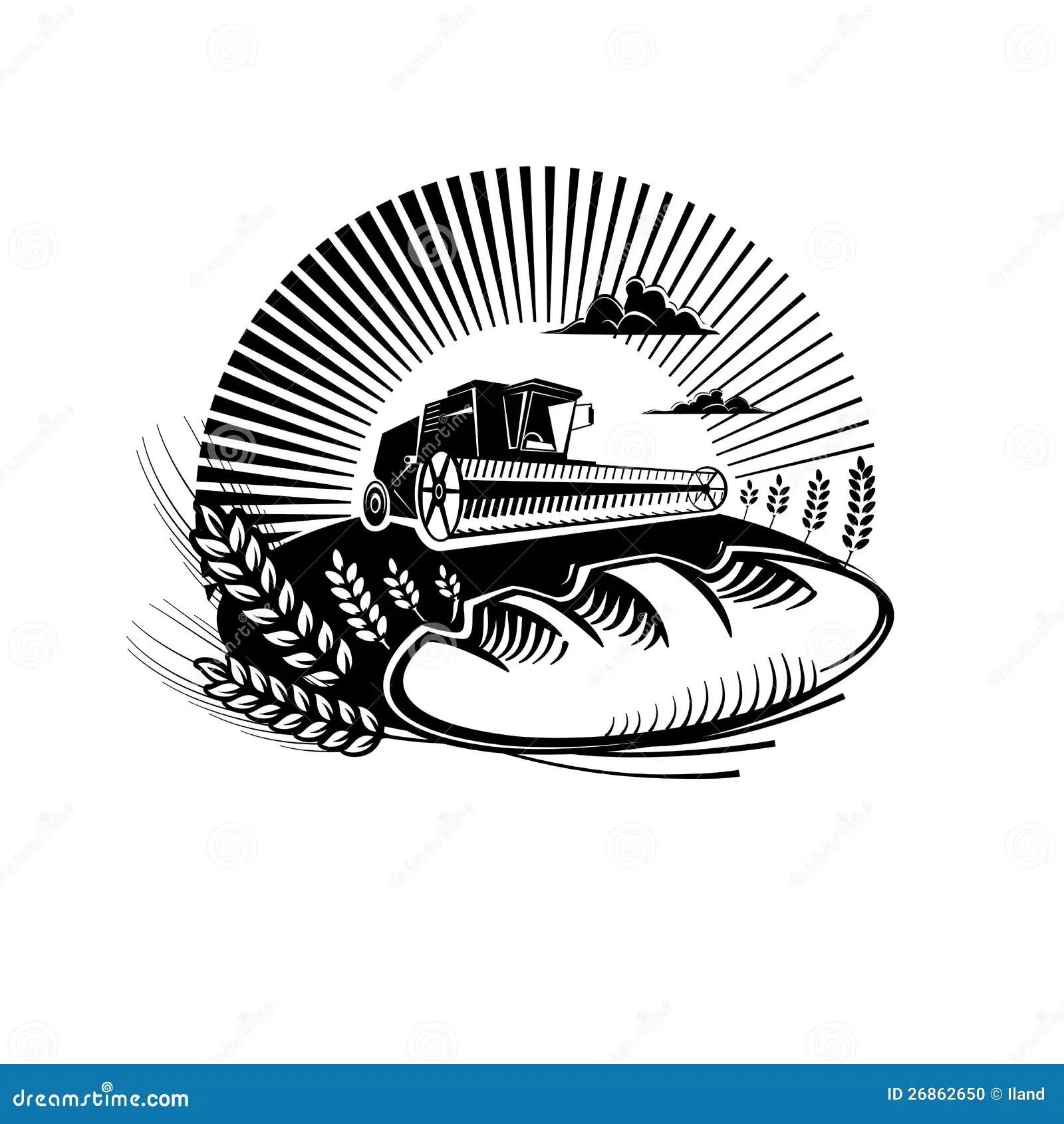 Brot Mit Weizen Und Mahdrescher Auf Einem Gebiet Stockfoto