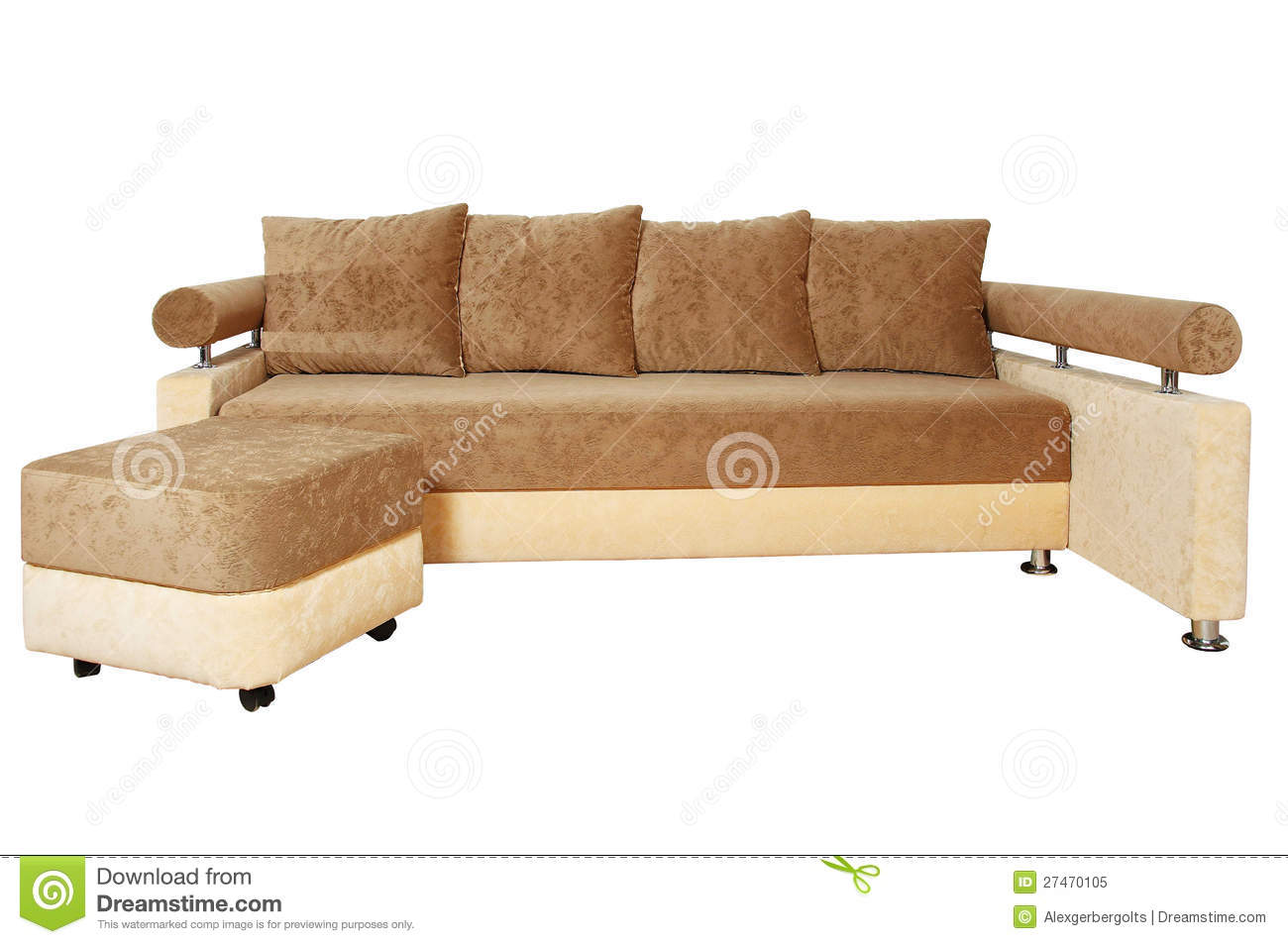 brown and beige sofa cb2 avec reviews isolated on white royalty free stock