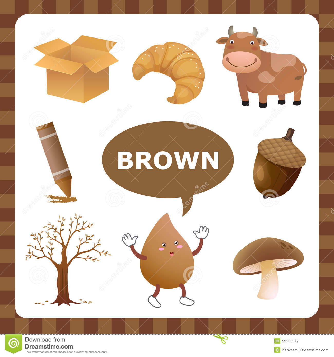 Brown Color Stock Vector Illustration Of Autumn Acorn