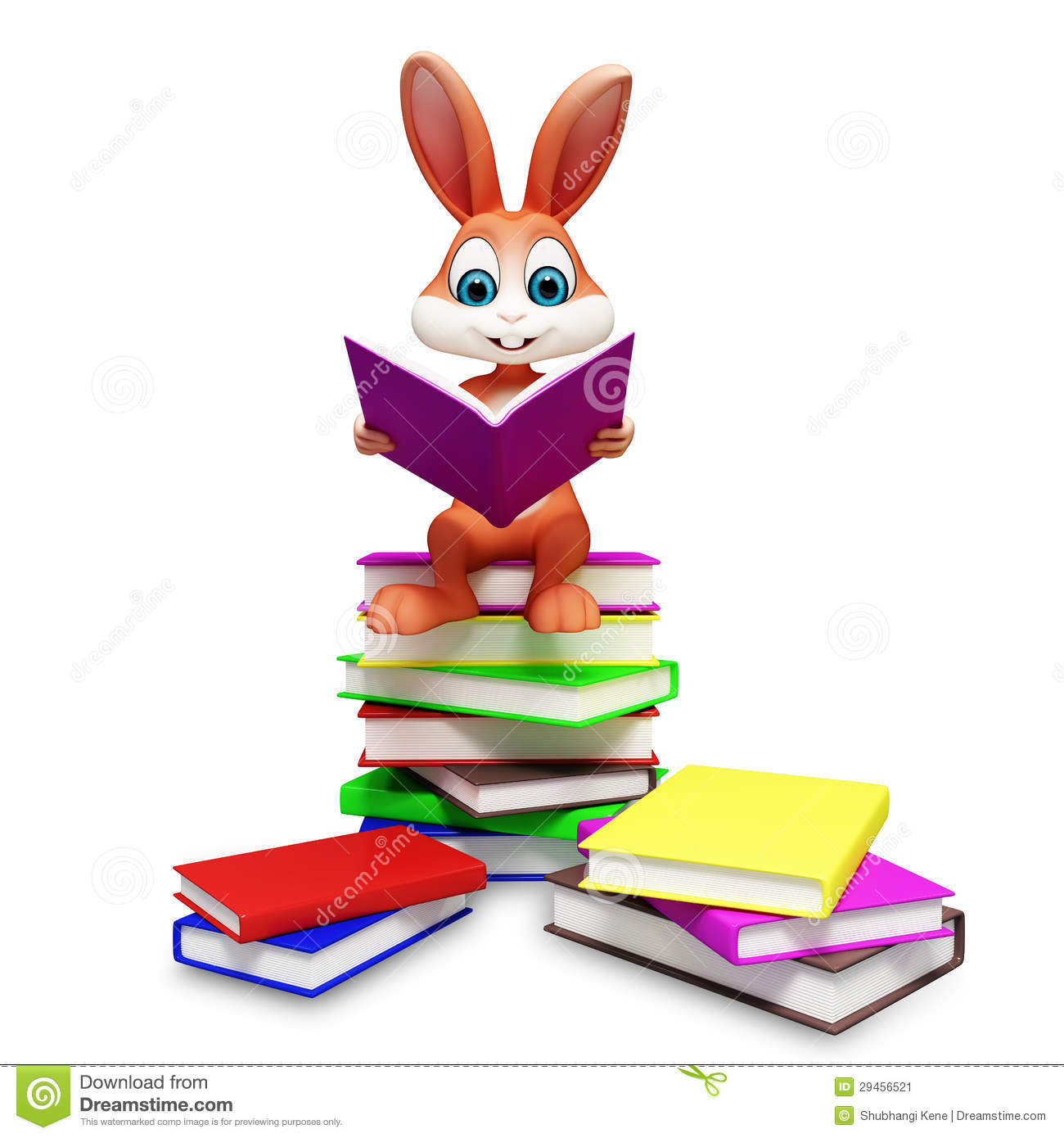 Brown Easter Bunny With Reading Book Stock Image