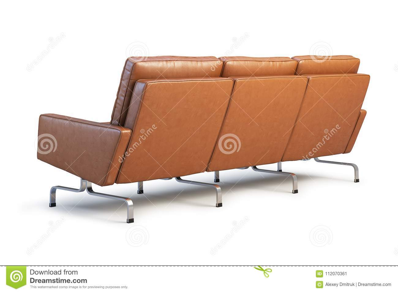 modern brown leather sofa ikea corner three seat 3d render stock illustration with chrome base for office realistic folds model