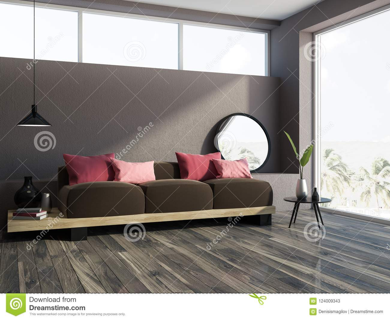 cushions living room small furniture designs brown sofa red corner stock illustration with a wooden floor loft window and long comfortable dark on it 3d rendering mock up