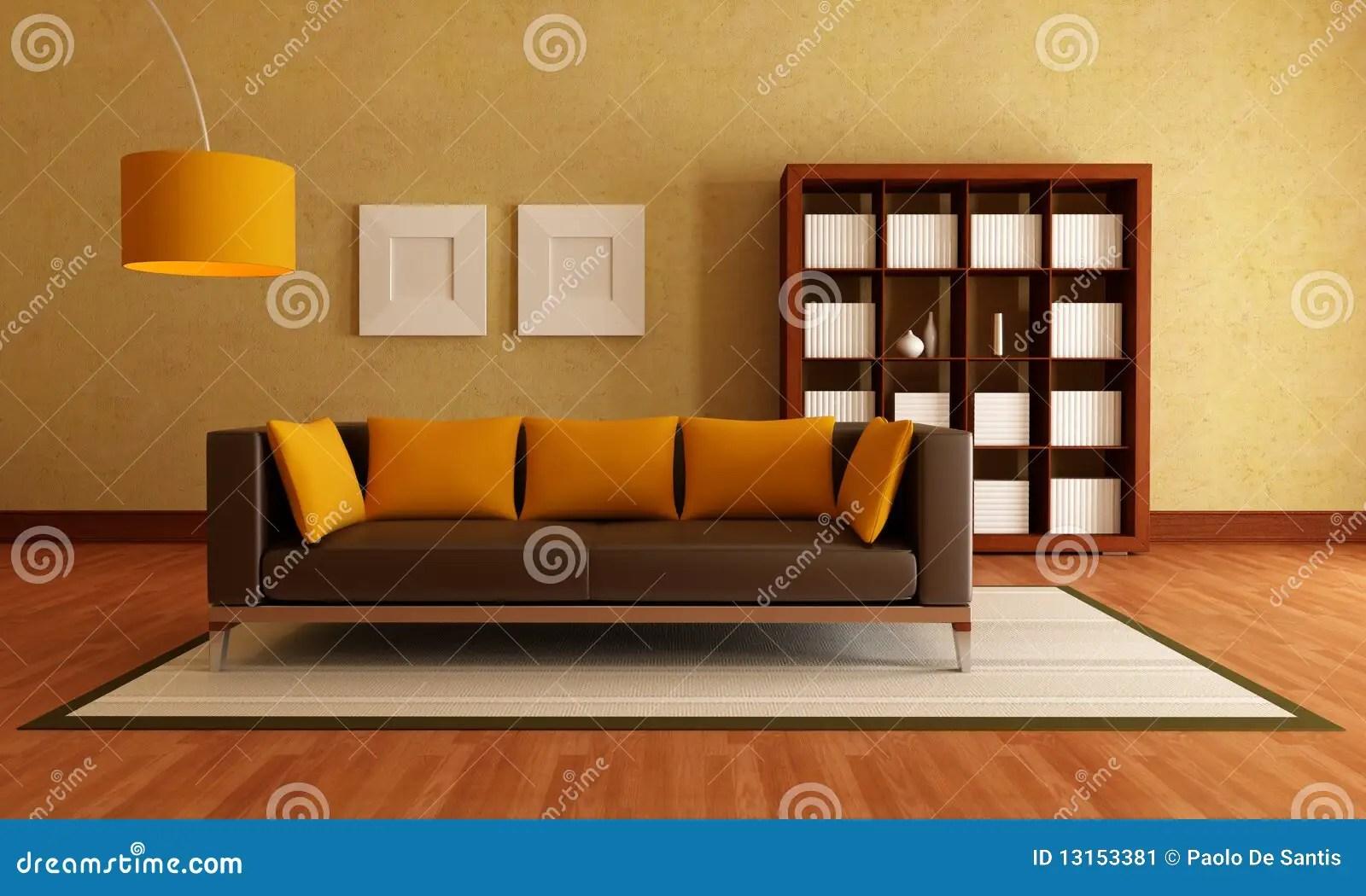 Brown And Orange Living Room Stock Illustration