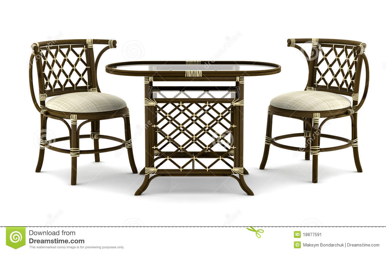 rattan table and chairs aeron chair posturefit brown with isolated on white stock illustration