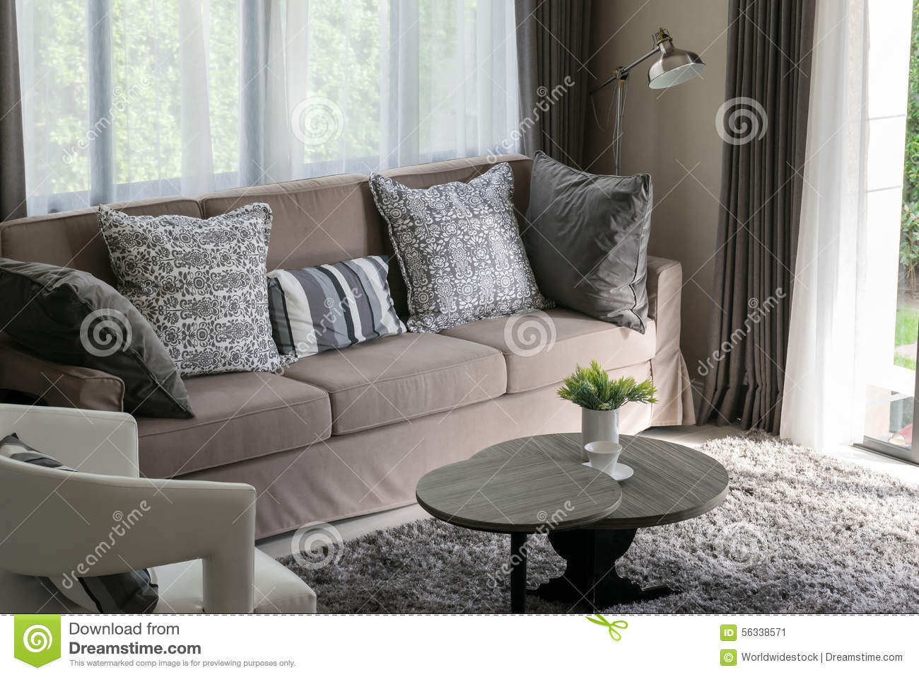 Brown Tweed Sofa With Grey Pillows Stock Photo  Image