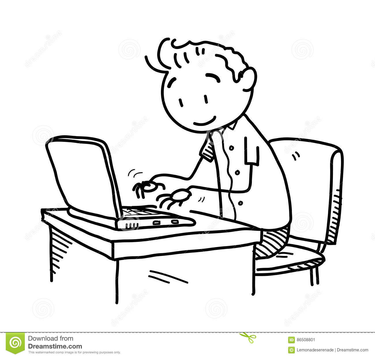 Browsing The Internet Doodle Stock Vector