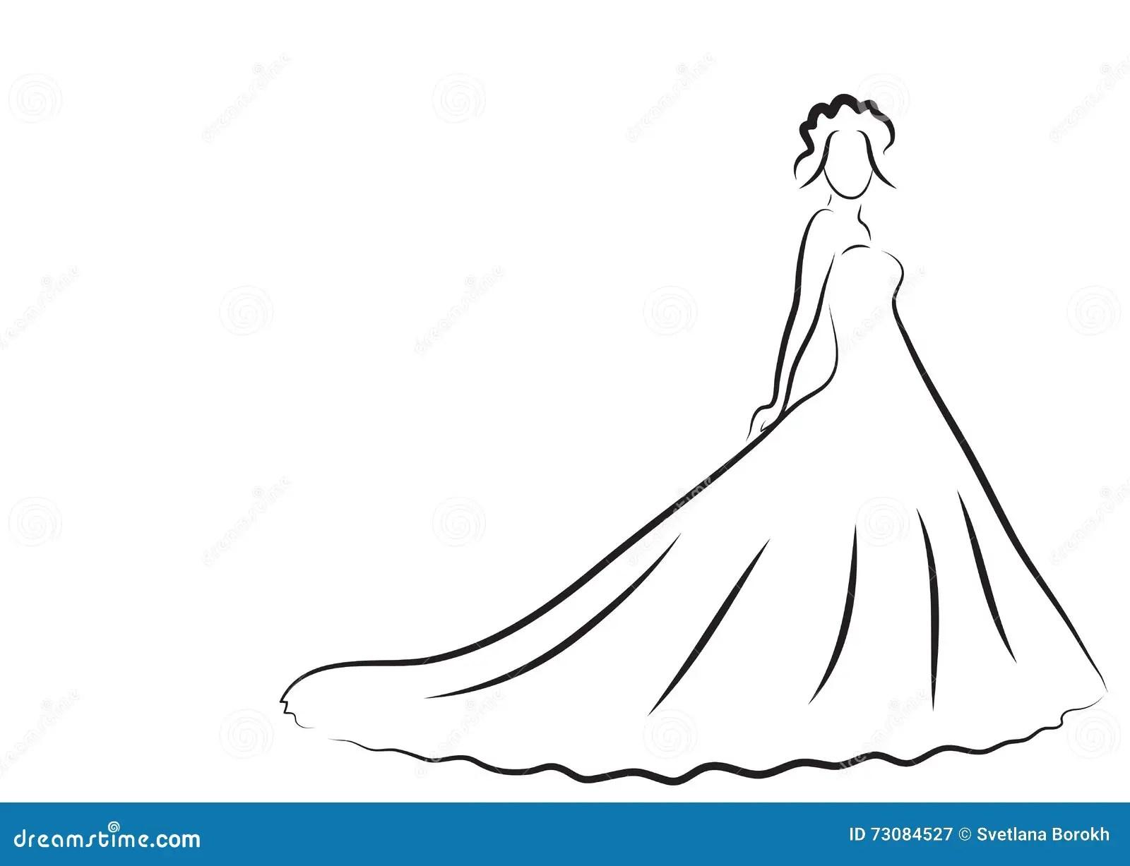 Brudkonturn Skissar Bruden Bruden I En Harlig