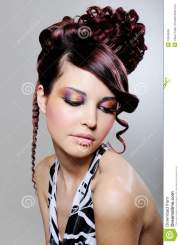 brunette woman with fashion creative