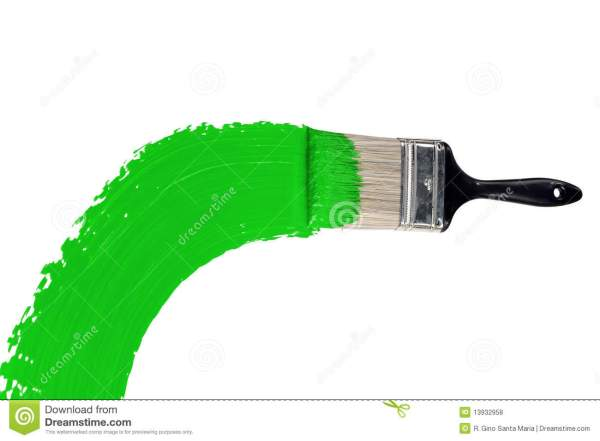 Brush With Green Paint Stock Of Handle - 13932958
