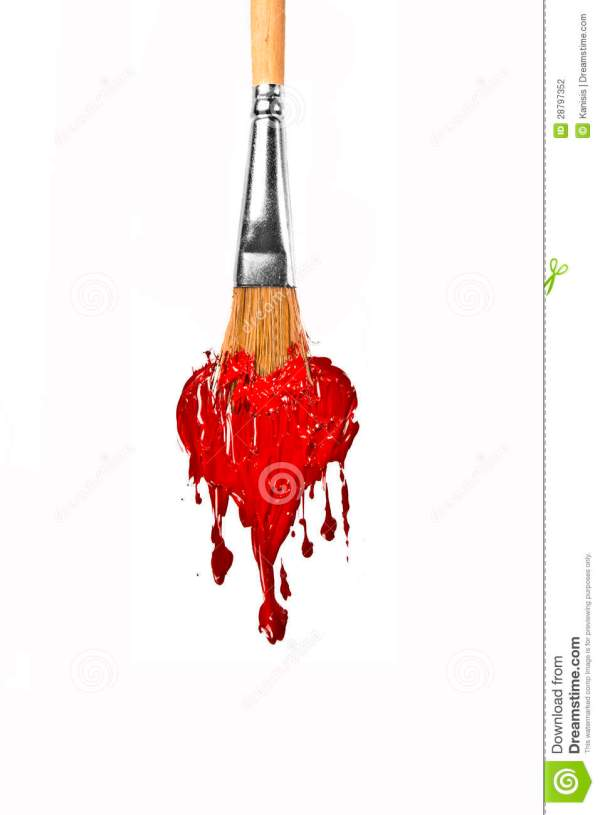Brush Paint Red Color Melting Heart Stock Illustration - Of Sketch Coloring 28797352